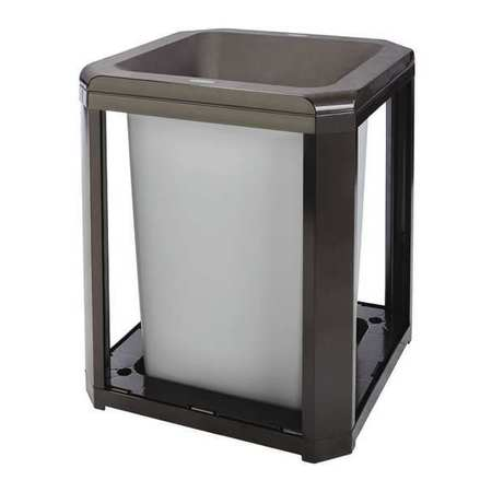 Brown Polycarbonate Square Landmark Funnel Top Trash Can Frame