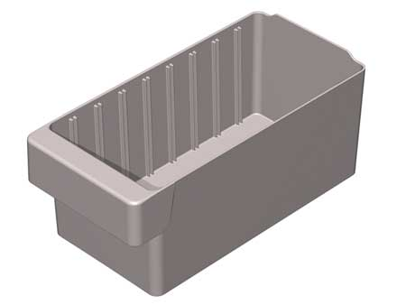Drawer Bin, 11-5/8 x 5-5/8 x 4-5/8In, Gray