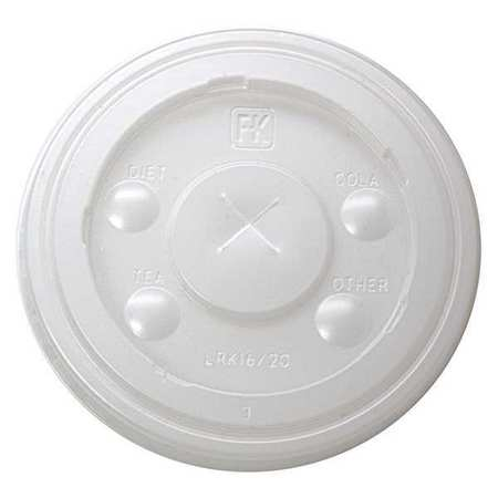 Lid for 16,  20 oz. Cold Cup,  Flat,  Identification Buttons,  Straw Slot,  Translucent,  Pk1000