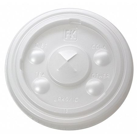 9 to 10 fl. oz. Translucent Cup Lid,  Flat,  Straw Slot,  Pk2500
