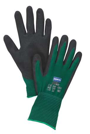 Coated Gloves, L, Black/Green, PR