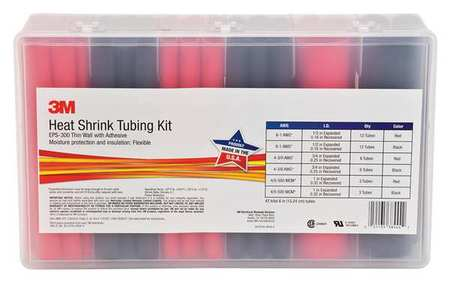 Heat Shrink Tubing Kit, Red,  Black, 42 Pc