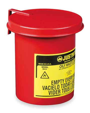 Countertop Oily Waste Can, 1/2 Gal., Steel