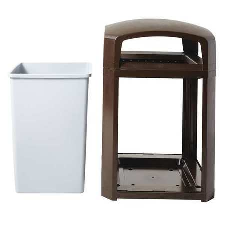 35 gal. Brown Polycarbonate Square Trash Can