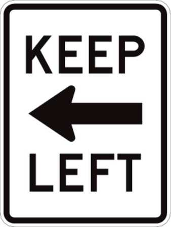 Traffic Sign, 24 x 18In, BK/WHT, Keep Left