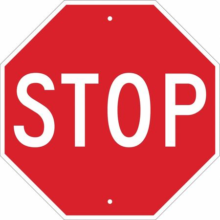 Traffic Sign, 18 x 18In, WHT/R, Stop, Text