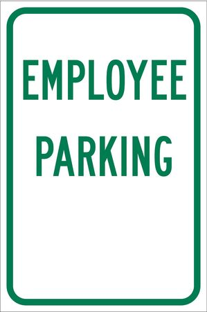 Parking Sign, 18 x 12In, GRN/WHT, EMPL PRKG