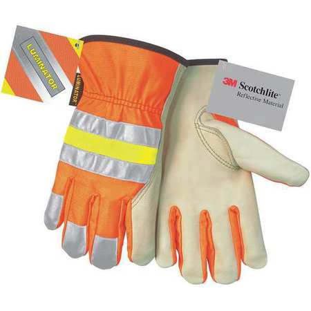 Leather Palm Gloves, L, Hi-Vis Orange, PR