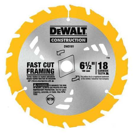 Circular Saw Blade,  Carbide,  6-1/2 In,  18 Teeth