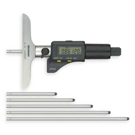 Depth Micrometer, 0-6 In, Electronic