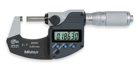 Digital Micrometer, 0-1 In, Waterproof