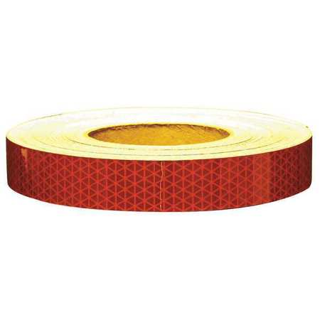 Reflective Tape, W 1 In,  L 50 Yd, Red
