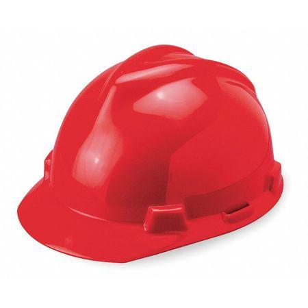 Hard Hat, FrtBrim, Slotted, PinLk, Red