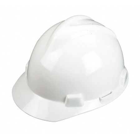 Hard Hat, FrtBrim, Slotted, PinLk, White