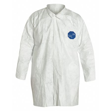 Disp. Lab Coat, L, Tyvek(R), White, PK30