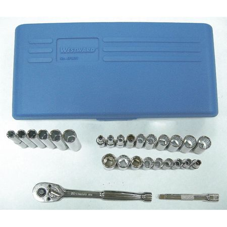 Socket Wrench Set, 1/4 in. Dr, 27 pc