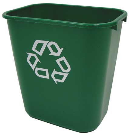 Desk Recycling Container, Green, 7 gal.