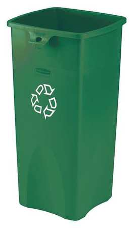 23 gal. Recycling Container Rectangular,  Green Plastic
