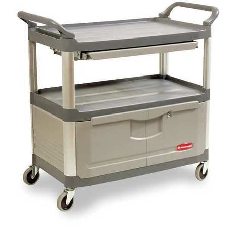 Enclosed Service Cart, Gray, 3 Shelf