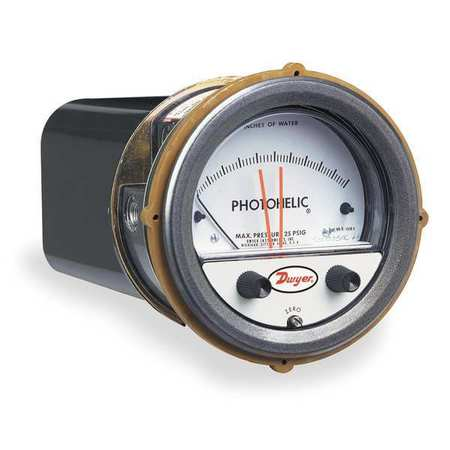 Pressure Gauge, 0 to 2 In H2O