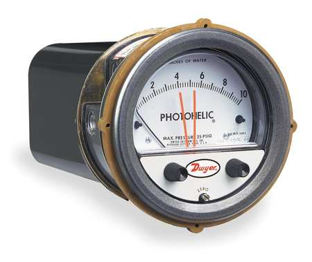 Pressure Gauge, 0 to 10 In H2O