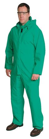 FR Coverall Rainsuit, Detach Hood, Grn, XL
