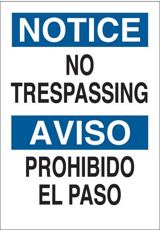 Notice Sign, 14 x 10In, BL and BK/WHT, Text
