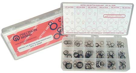 Die Button Shim Assortment,  33 Sizes,  Pk330