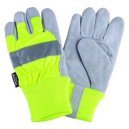 Leather Palm Gloves, Hi-Vis Lime, M, PR