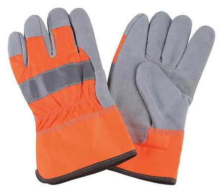 Leather Palm Gloves, Hi-Vis Orange, L, PR