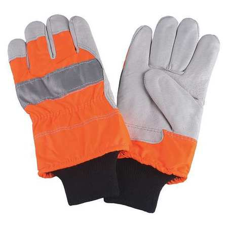 Leather Palm Gloves, High Visibility Orange, M, PR