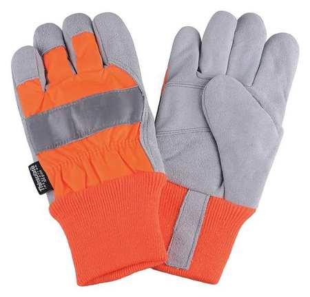 Leather Palm Gloves, Hi-Vis Orange, S, PR
