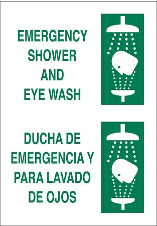 Eye Wash Sign, 14 x 10In, GRN/WHT, SURF