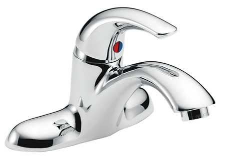 Vandal Resistant Bathroom Faucet Rigid Spout,  Chrome 2 Holes,  Lever Handle