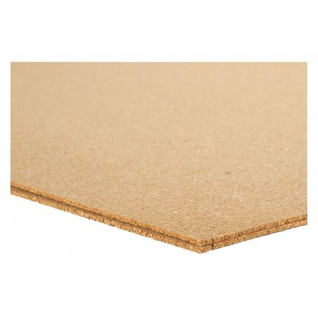 Cork Sheet, Underlayment, 12mm Th, 24x36 In