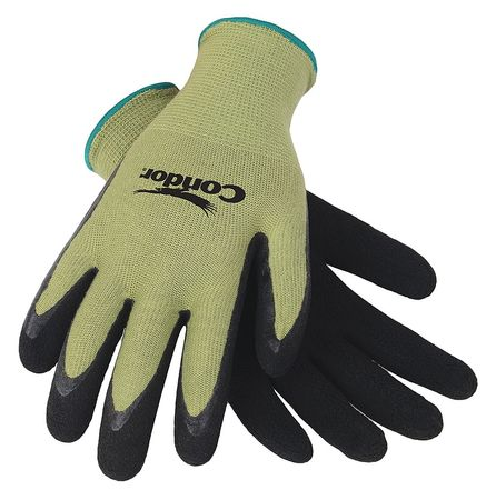 Coated Gloves, M, Black/Green, PR