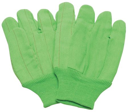 Canvas Gloves, Cotton, L, High Visibility Green, PR