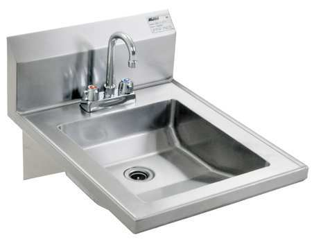 Hand Sink, With Faucet, 19 In. L, 24 In. W
