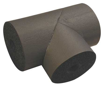 "3-5/8"" x 1-1/4"" Elastomeric Tee Pipe Fitting Insulation,  3/4"" Wall"