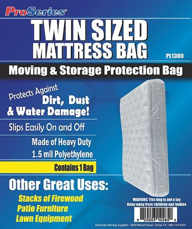 "87"" x 39"" Low Density Polyethylene Mattress Bag,  1.5 mil,  0"