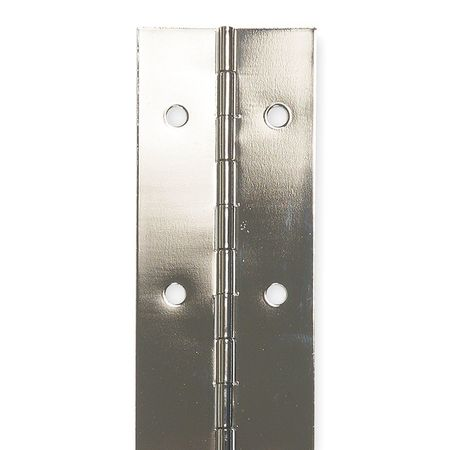 Piano Hinge, Bright Nickel, 4 ft L, 2 In. W