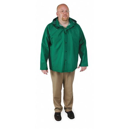FR Rain Jacket/Detachable Hood, Green, 3XL