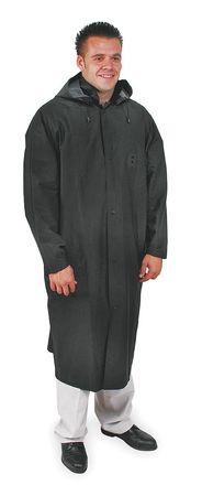 Raincoat with Detachable Hood, Black, 3XL