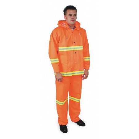 Rainsuit w/Detach Hood, Hi-Vis Orange, 4XL