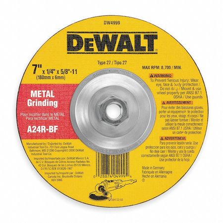 Depressed Center Wheel, T27, 7x3/32x7/8, AO