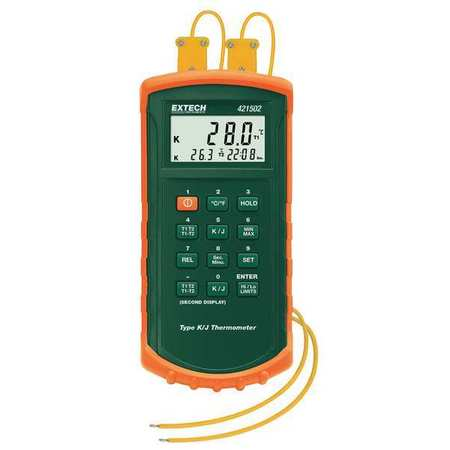 Thermocouple Thermometer, 2 In, Type J,  K