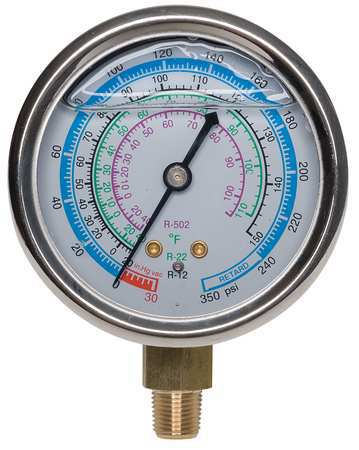 Gauge, 2-3/4 In Dia, Low Side, Blue, 350 psi