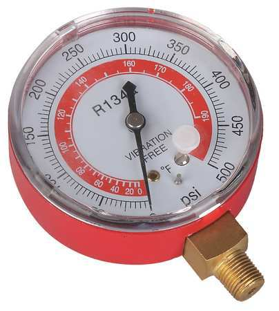 Gauge, 2-3/4 In Dia, High Side, Red, 500 psi