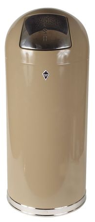 15 gal.  Round  Beige  Trash Can
