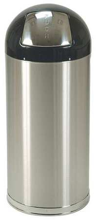 12 gal. Silver Stainless Steel Round Trash Can